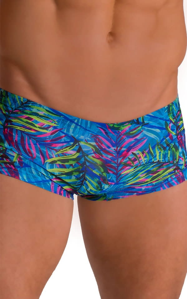 Extreme Low Square Cut Swim Trunks in Tan Through Neon Ferns 3