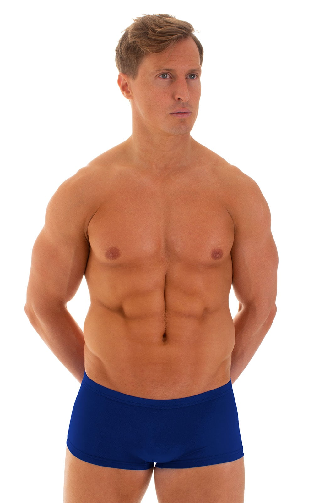 Extreme Low Square Cut Swim Trunks in Semi Sheer ThinSKINZ Royal Blue 1