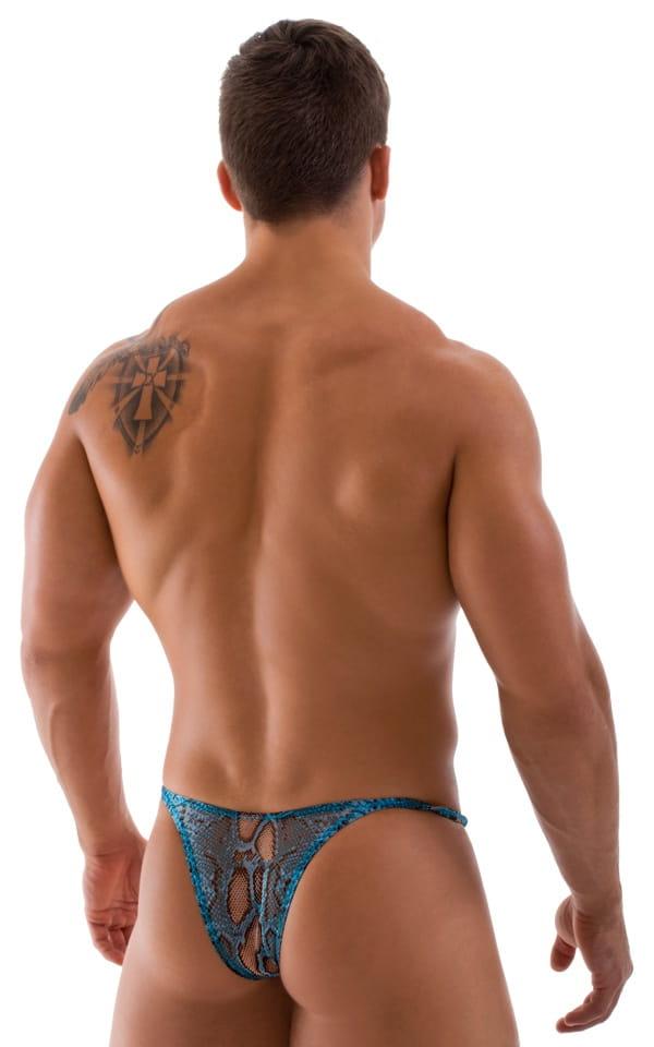 Sunseeker Micro Pouch Half Back Bikini in Turquoise Python Printed Mesh 3