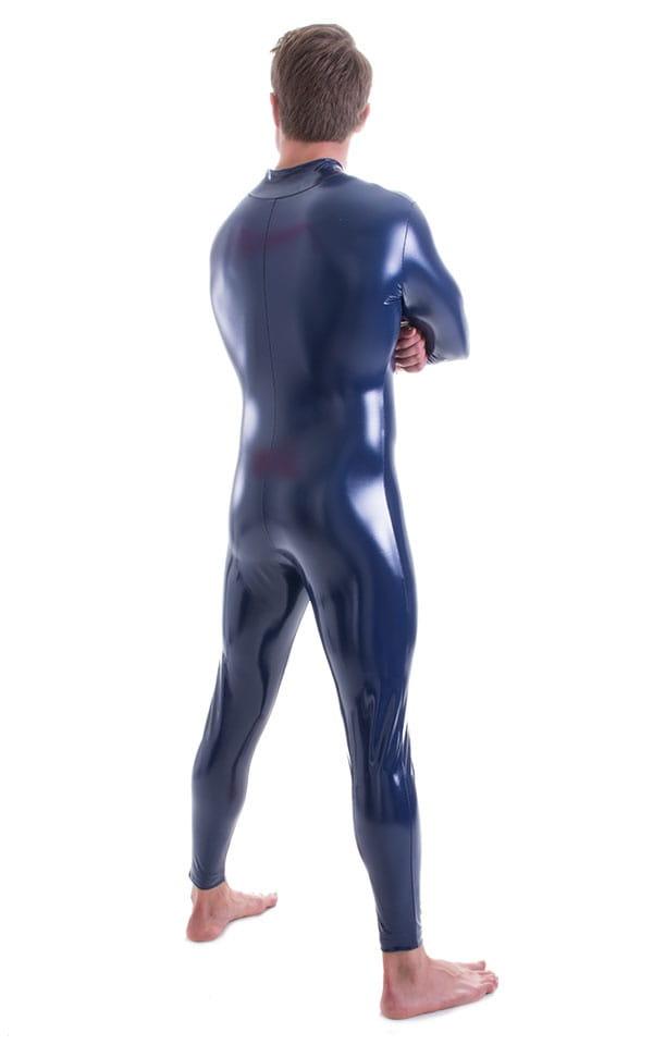 Full Bodysuit Zentai Lycra Spandex Suit for men in Gloss Navy Blue Superstretch Vinyl 3