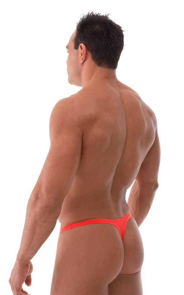 T Back Thong Swimsuit - Bravura Pouch in Semi Sheer ThinSKINZ Apricot 3