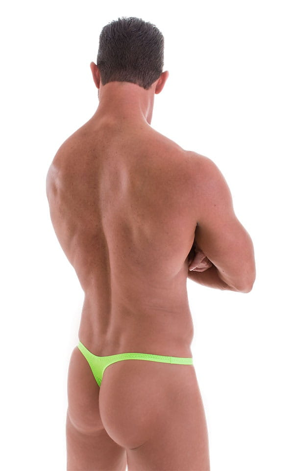 T Back Thong Swimsuit - Bravura Pouch in ThinSKINZ Neon Lime 3