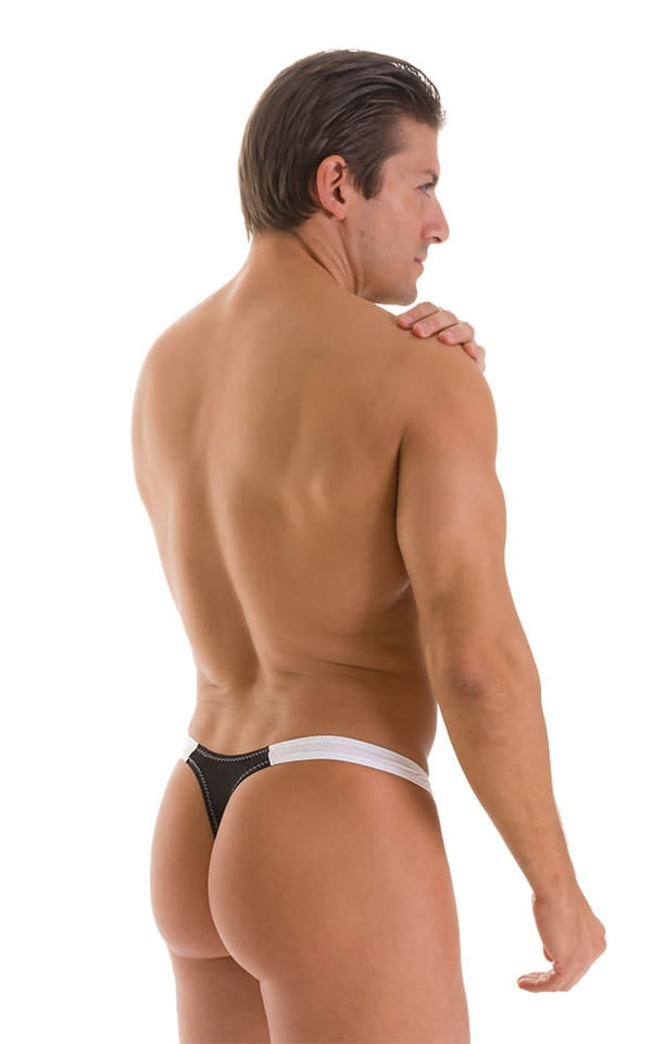 Color Blocked T Back Thong Swimsuit in Super ThinSKINZ Black and White 2
