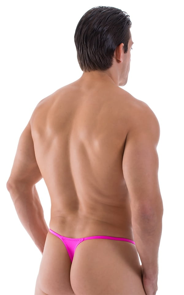 Smooth Pouch Skinny Sides Swim Thong in Hot Pink 3