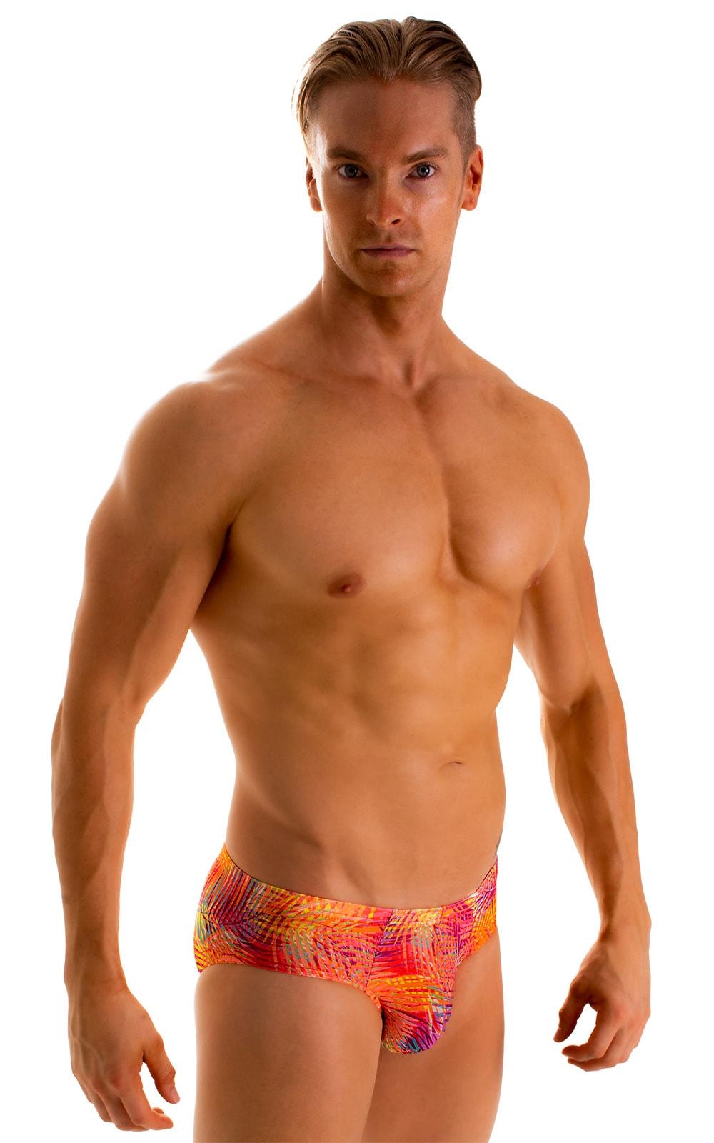 Pouch Brief Swimsuit in Tan Through Orange Jungle 1