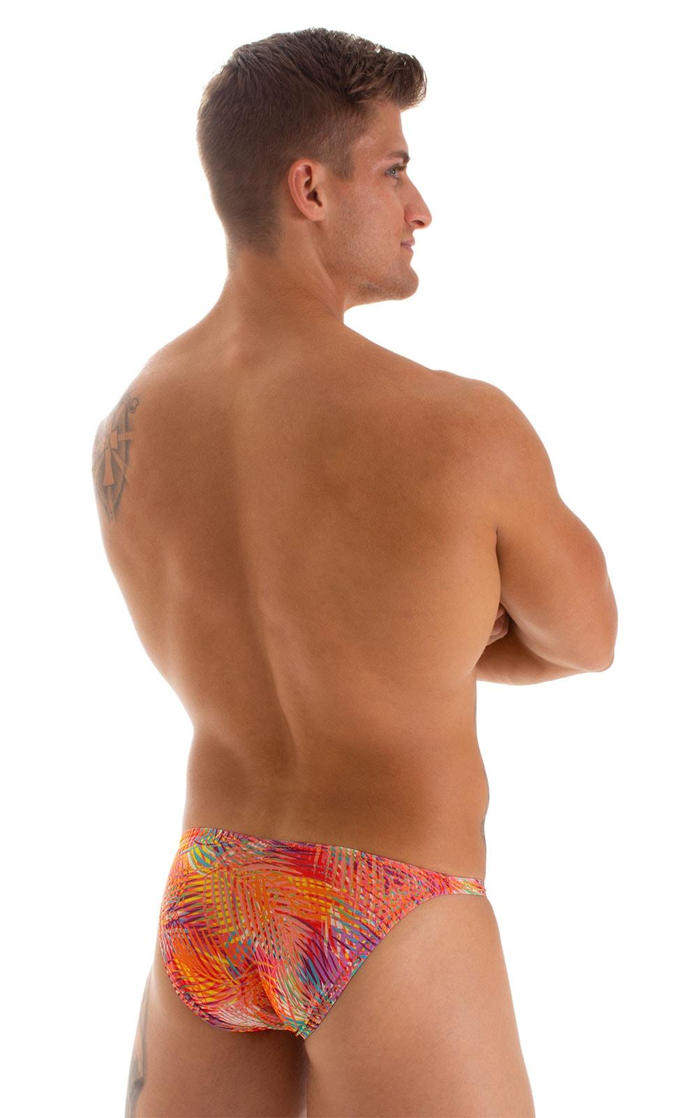 Stuffit Pouch Bikini Swimsuit in Tan Through Orange Jungle 2
