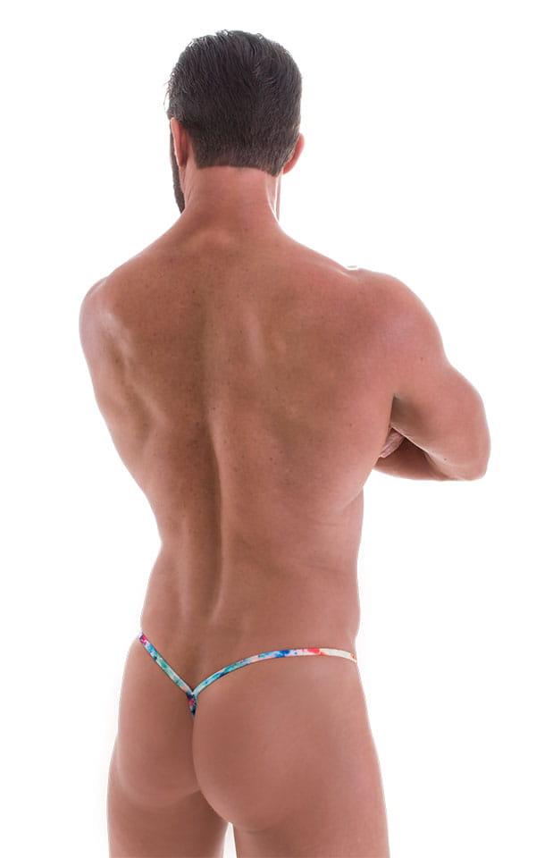 Y Back G String in Tan Through Retro Tie Dye 3