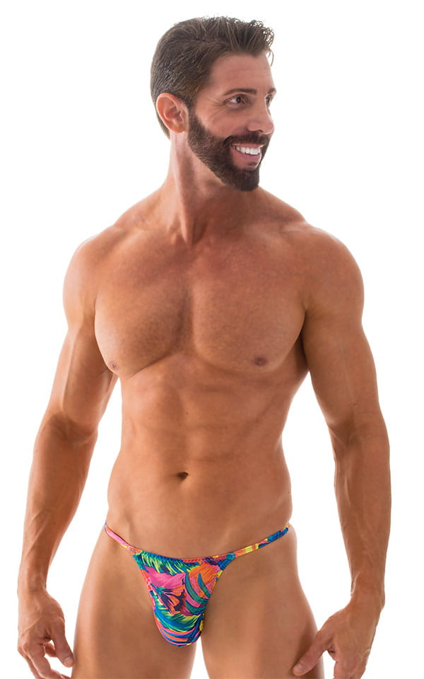 Smooth Pouch Skinny Sides Swim Thong in Tahitian Tan Through 1