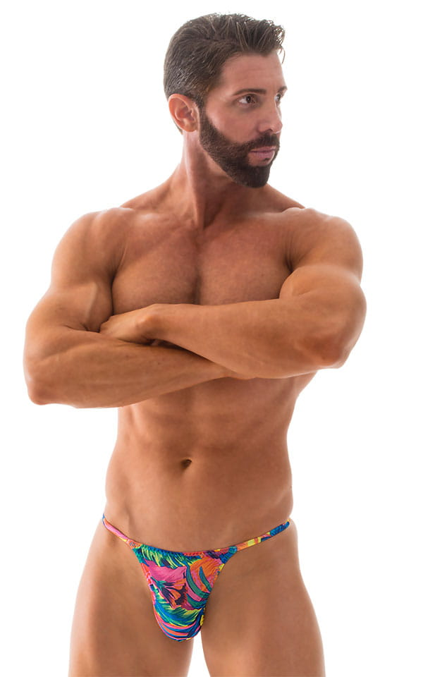 Smooth Pouch Skinny Sides Swim Thong in Tahitian Tan Through 4