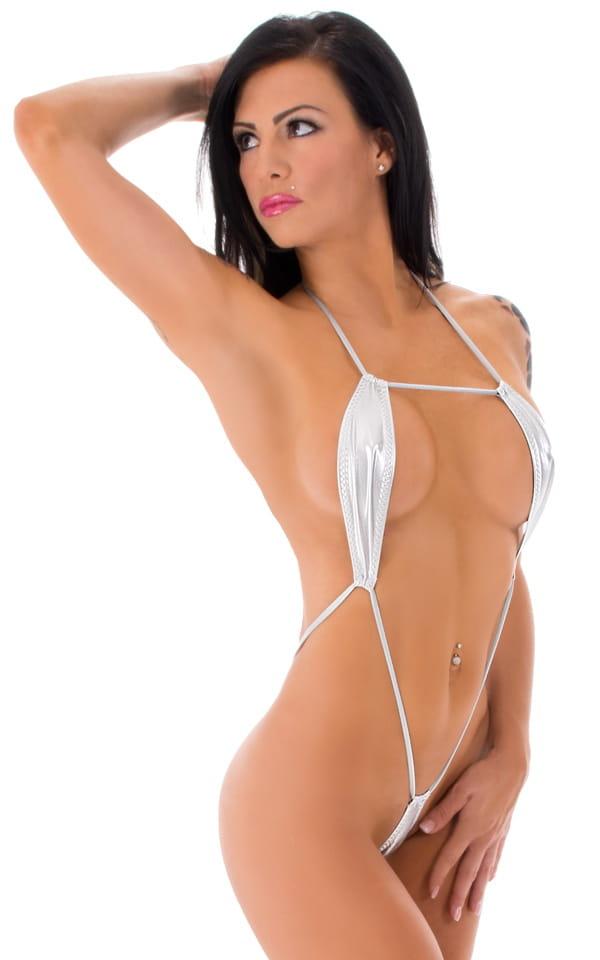 Miami Slingshot Micro G String Monokini in Liquid Silver 1