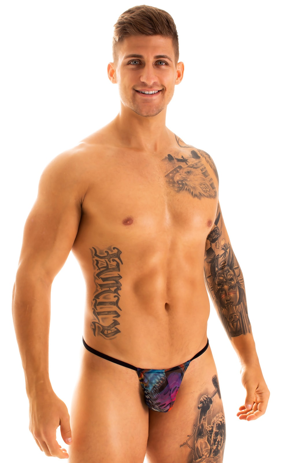 G String Swimsuit - Adjustable Pouch in Super Aquarious Mesh with Black Strings  1