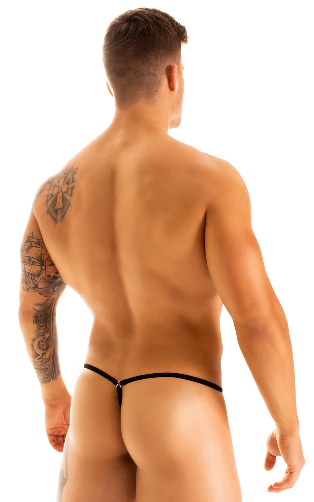 G String Swimsuit - Adjustable Pouch in Super Aquarious Mesh with Black Strings  2