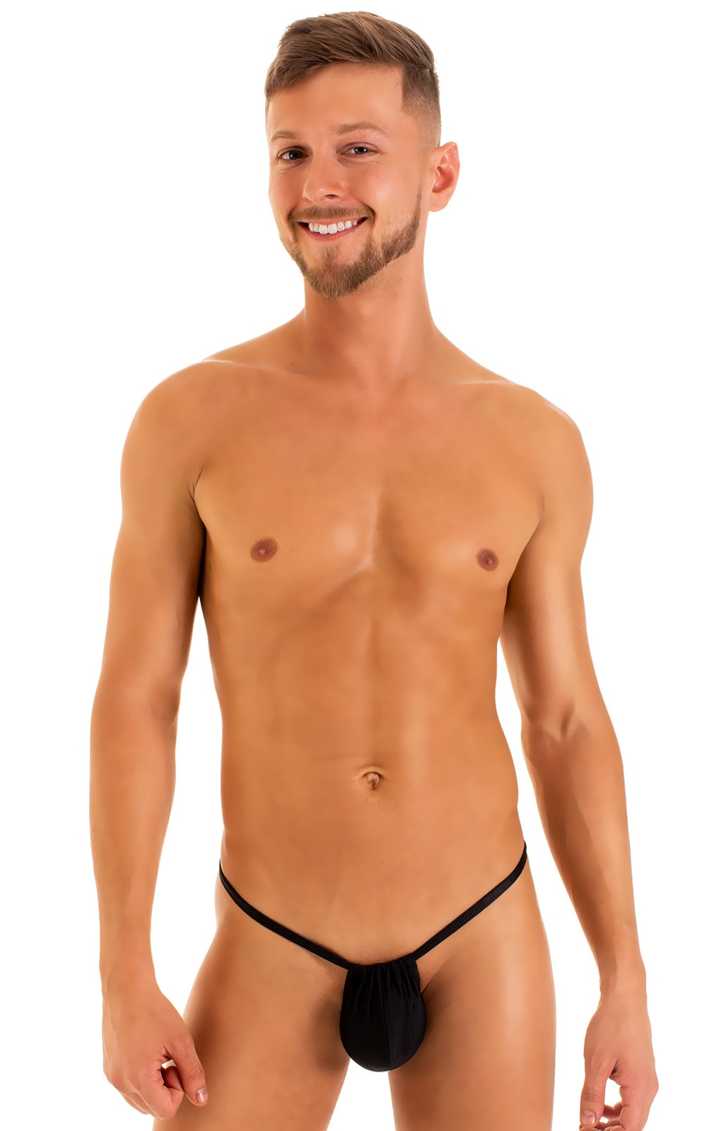 G String Swimsuit - Adjustable Pouch in Black tricot-nylon-lycra 3