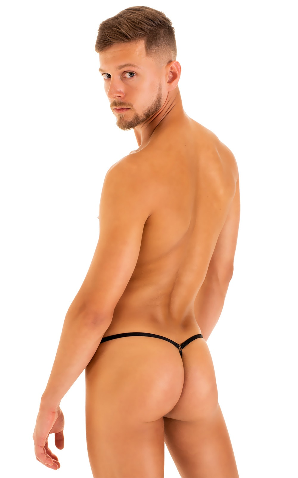 G String Swimsuit - Adjustable Pouch in Black tricot-nylon-lycra 7