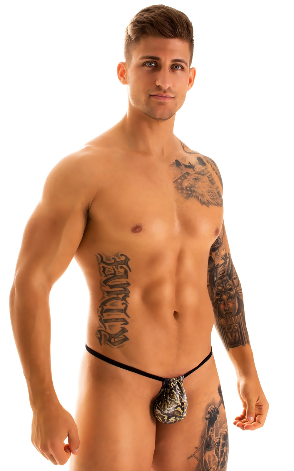 G String Swimsuit - Adjustable Pouch in Super ThinSKINZ Coiled Python with Black Strings  1