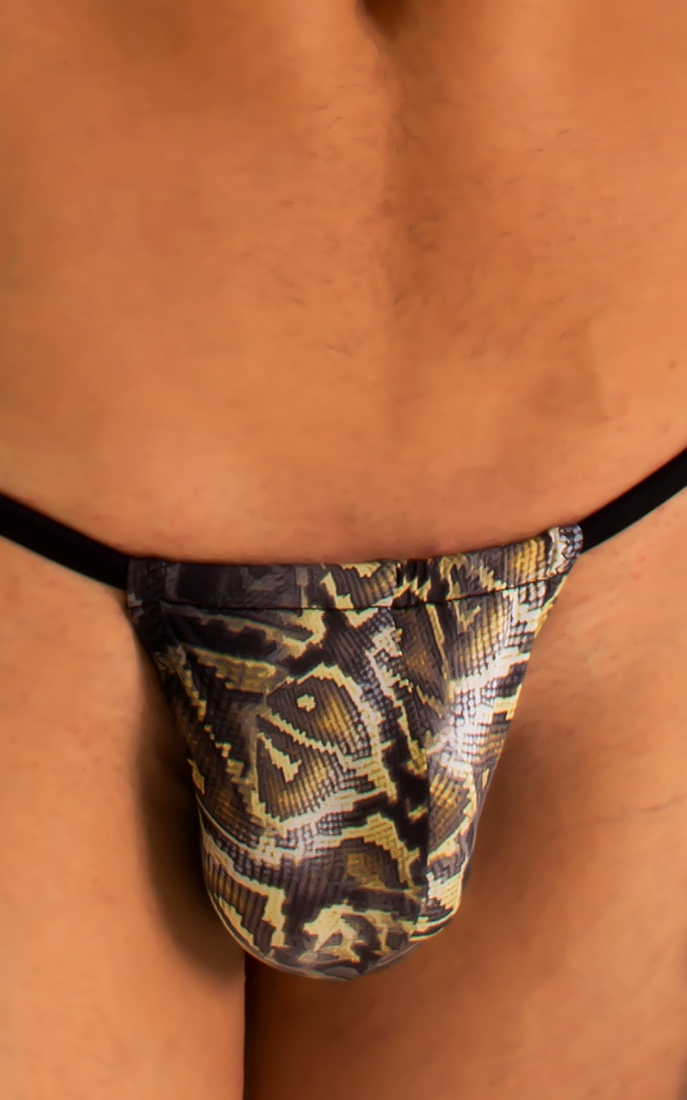 G String Swimsuit - Adjustable Pouch in Super ThinSKINZ Coiled Python with Black Strings  4