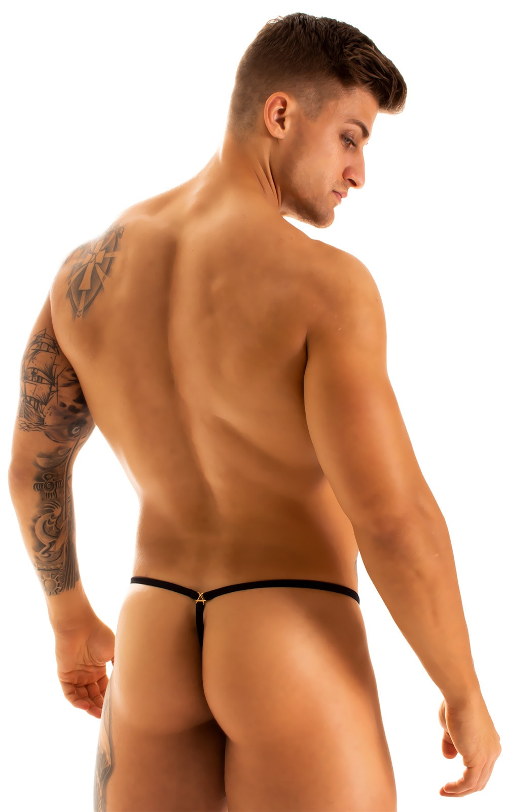 G String Swimsuit - Adjustable Pouch in Super ThinSKINZ Coiled Python with Black Strings  2