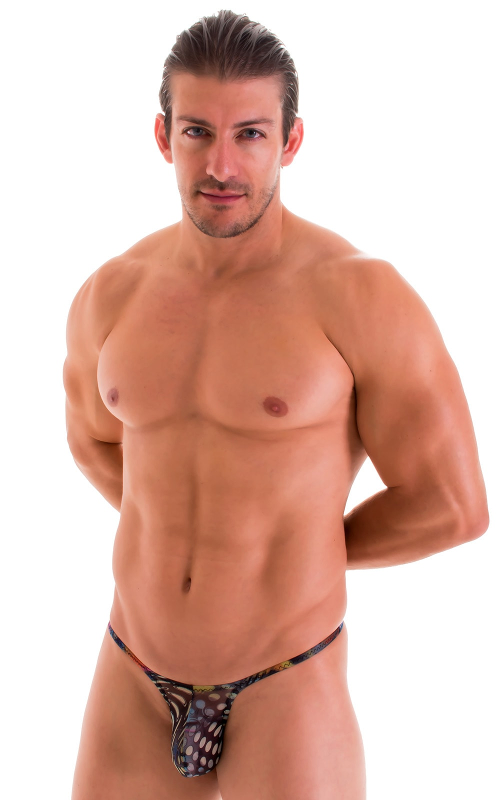 Sunseeker Micro Pouch Half Back Bikini in Semi Sheer Aquarious Printed Mesh 1