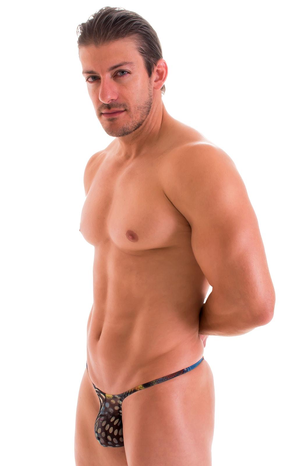 Sunseeker Micro Pouch Half Back Bikini in Semi Sheer Aquarious Printed Mesh 5