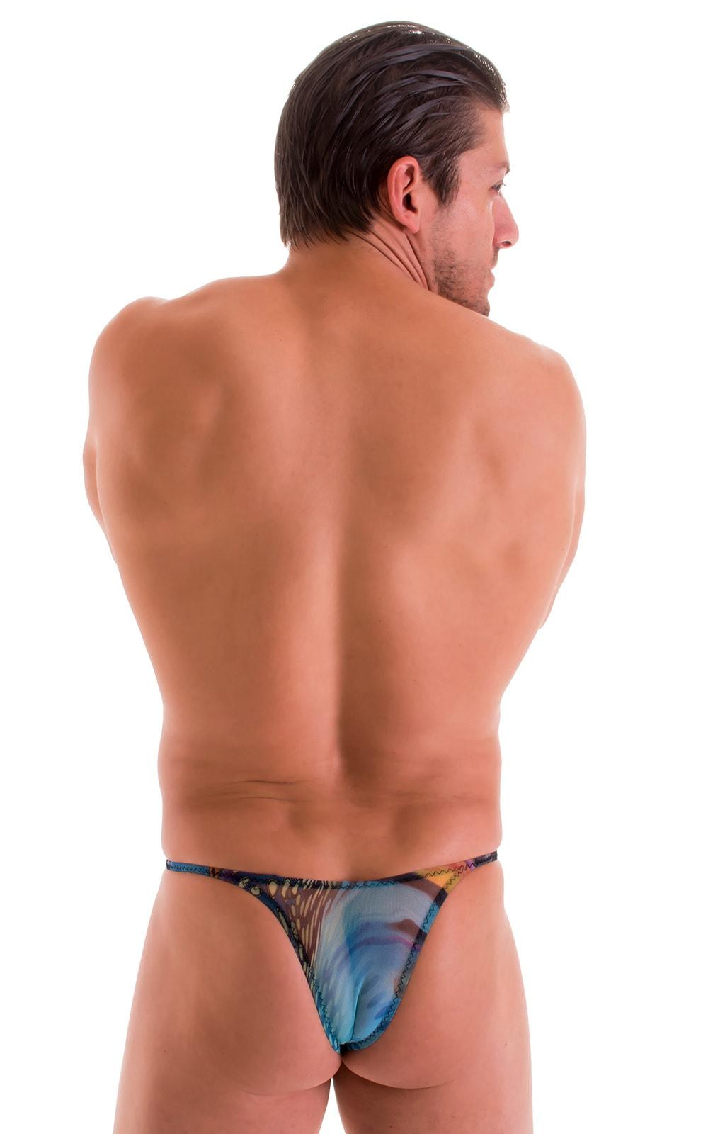 Sunseeker Micro Pouch Half Back Bikini in Semi Sheer Aquarious Printed Mesh 3