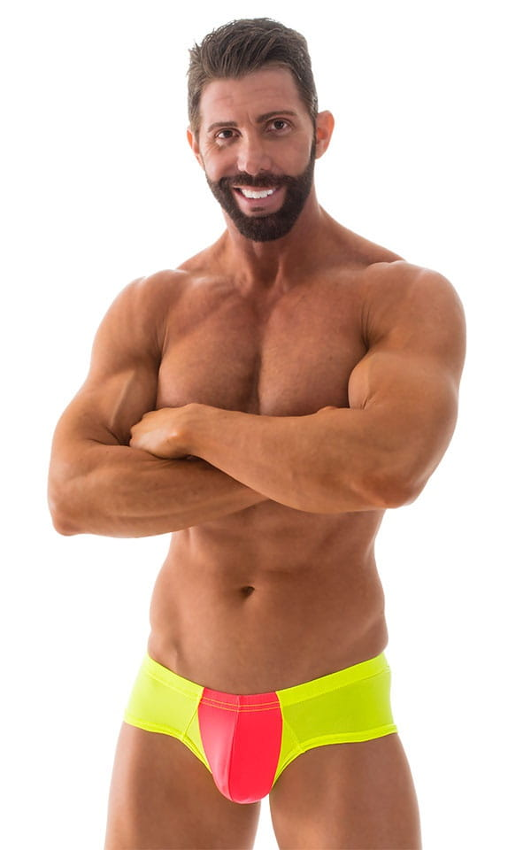 Pouch Enhanced Micro Square Cut Swim Trunks in ThinSKINZ Coral and Chartreuse 1