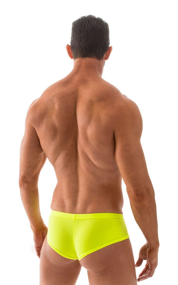 Pouch Enhanced Micro Square Cut Swim Trunks in ThinSKINZ Coral and Chartreuse 3
