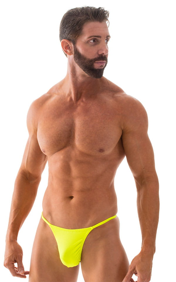 Smooth Pouch Skinny Sides Swim Thong in Chartreuse 4