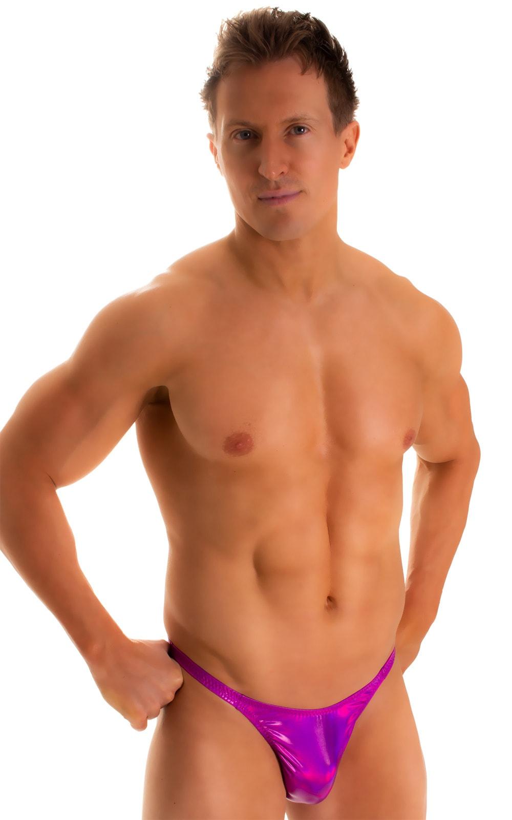 Rio Tanning Bikini Swimsuit in Holographic Liquid Fuschia 3
