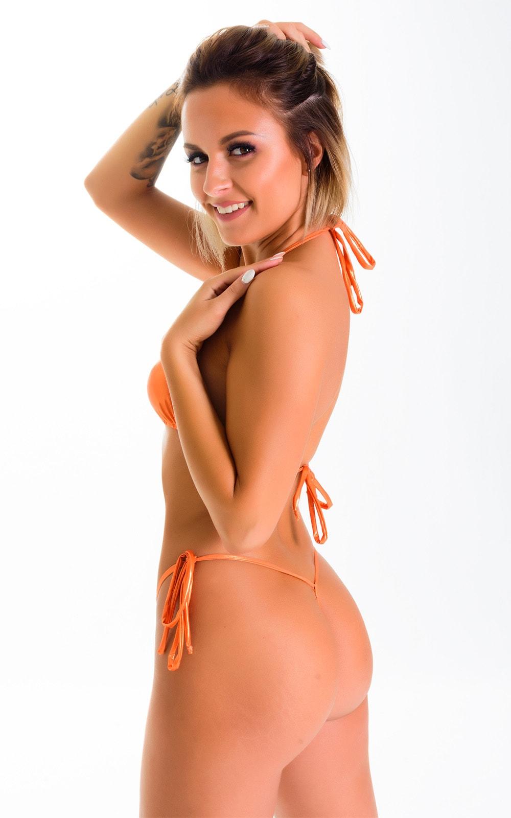 Micro G String Side Tie Bikini in Ice Karma Atomic Tangerine 2