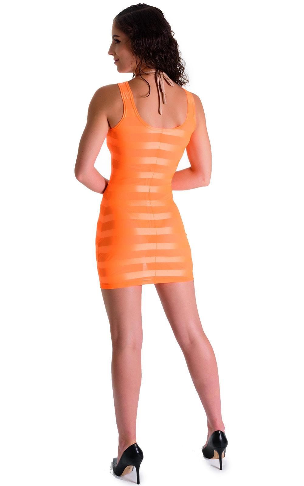 Mini Dress in Orange Satin Stripe 2