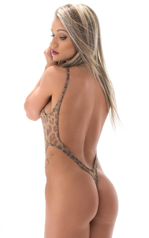 One Piece Thong Bikini in Semi Sheer Leopard Mesh 3
