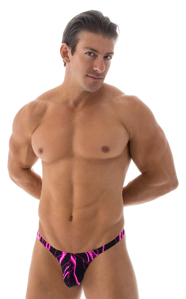 Stuffit Pouch Thong Back Swimsuit in Hot Pink Lightning 1
