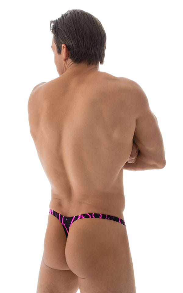 Stuffit Pouch Thong Back Swimsuit in Hot Pink Lightning 3