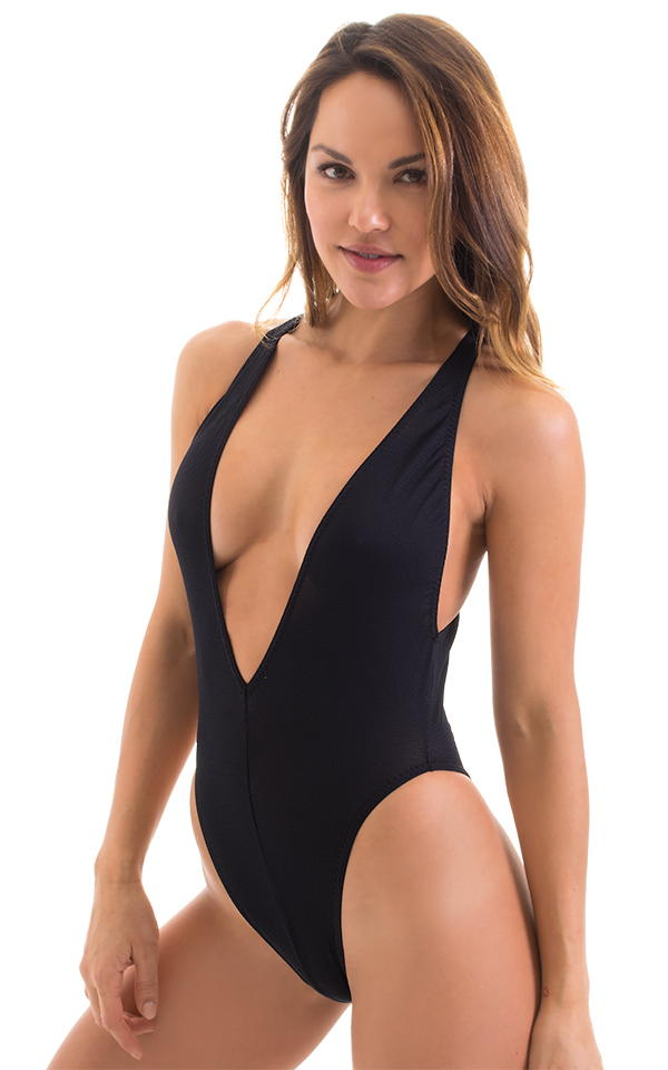 Plunging Neckline One Piece Tanga in Black Powernet 1