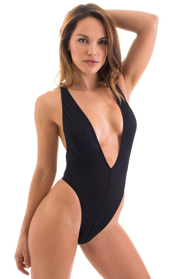 Plunging Neckline One Piece Tanga in Black Powernet 4