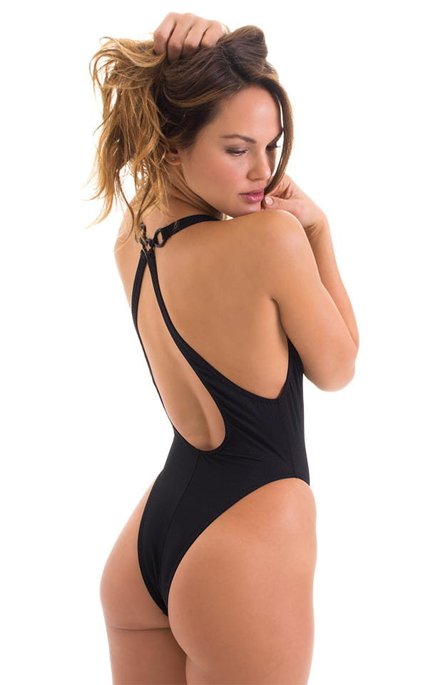Plunging Neckline One Piece Tanga in Black Powernet 3