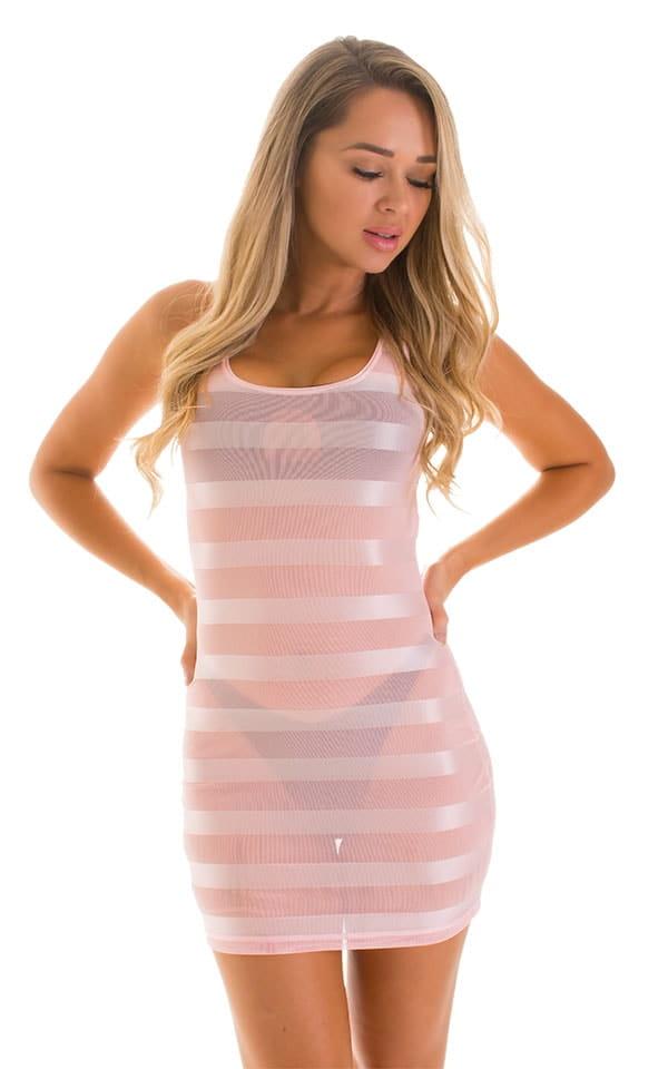 Micro Mini Dress in Pink Satin Stripe on Mesh 1