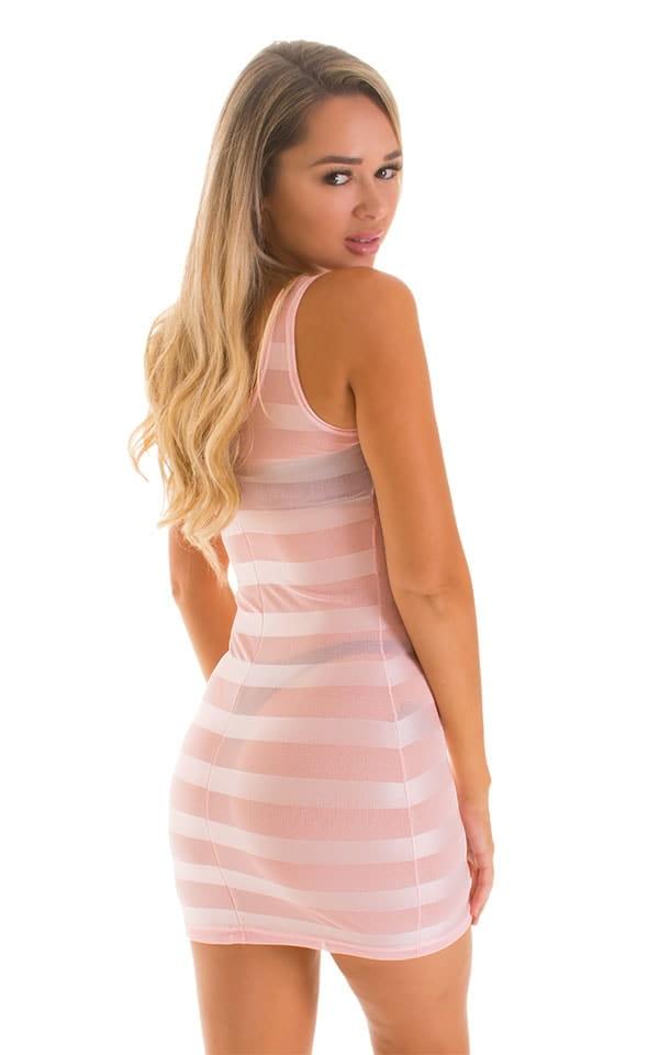 Micro Mini Dress in Pink Satin Stripe on Mesh 2