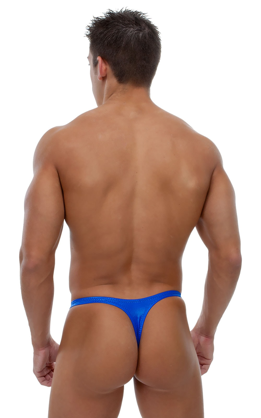 Swimsuit Thong with Pouch Enhancement in Wet Look Royal Blue 3