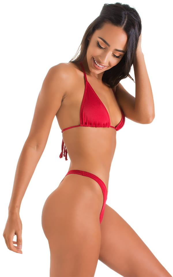 High Cut Thong Bottom in ThinSKINZ Red 4
