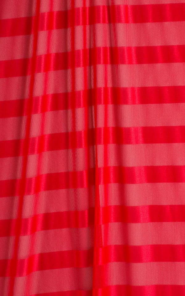 Micro Mini Dress in Red Satin Stripe on Mesh Fabric