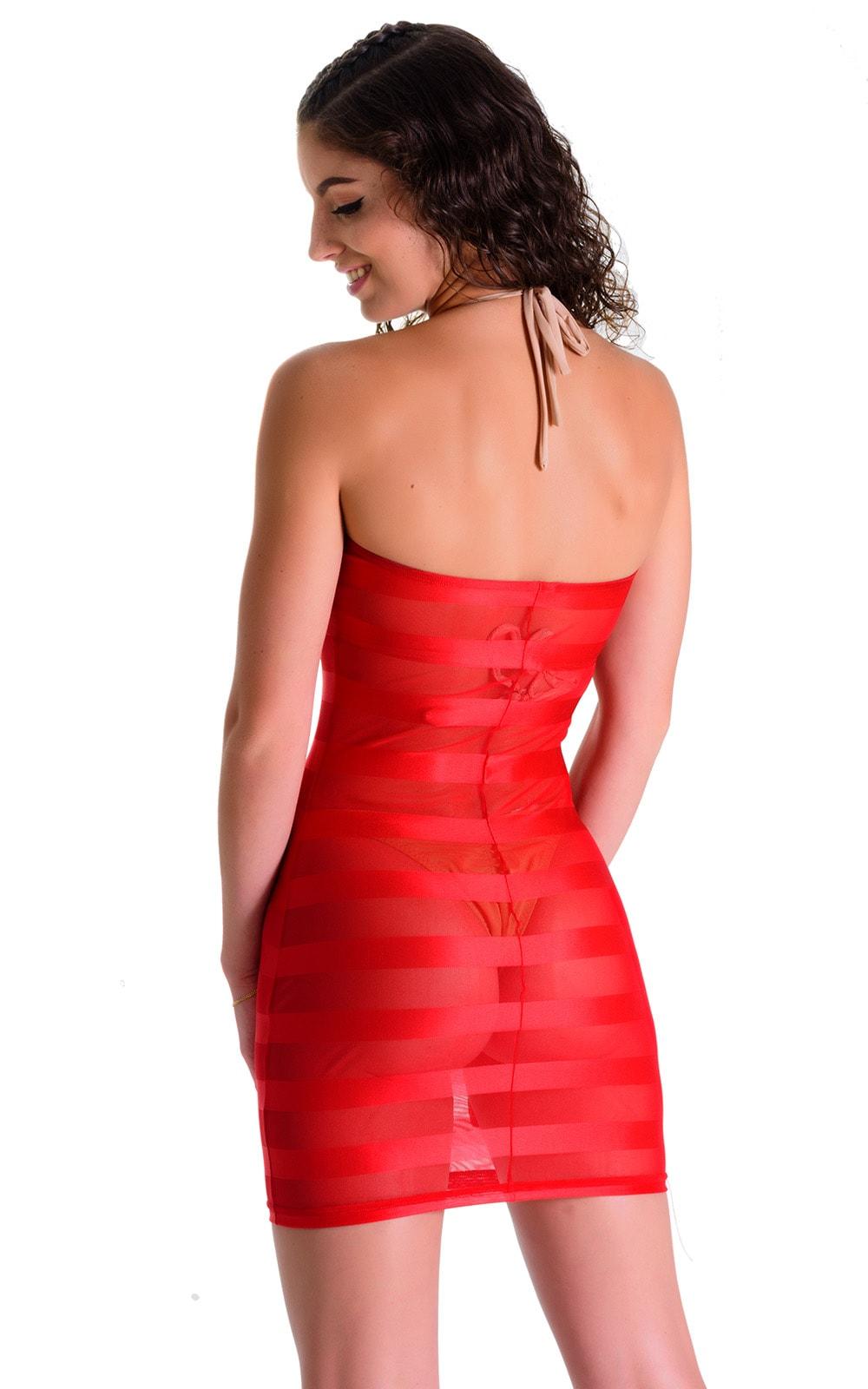 Mini Strapless Bodycon Dress in Red Satin Stripe Mesh 2