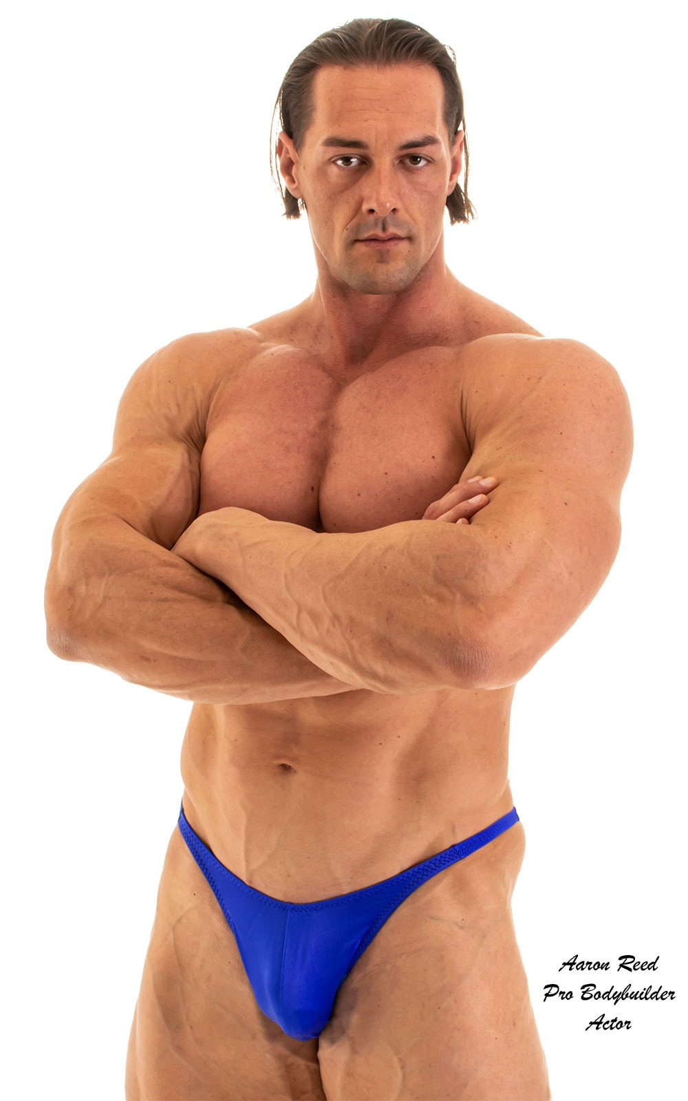 Fitted Pouch - Puckered Back - Posing Suit in Wet Look Royal Blue 1