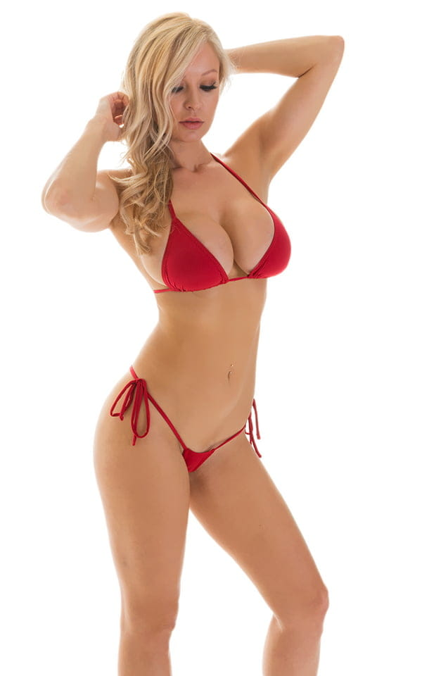 Micro G String Side Tie Bikini in ThinSKINZ Red 3