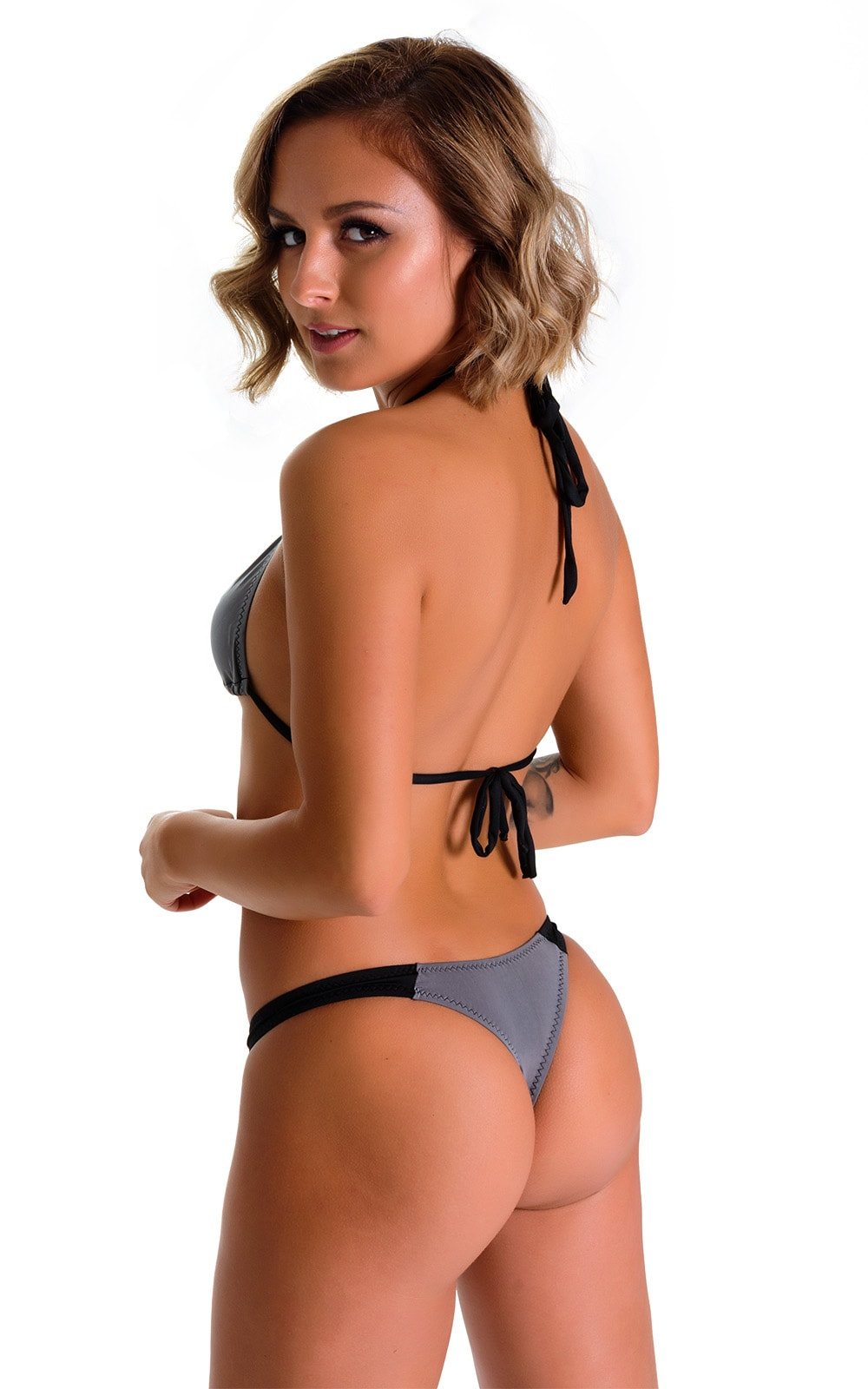 Color Blocked T Back Thong Bikini in ThinSKINZ Metal and Super ThinSKINZ Black 2