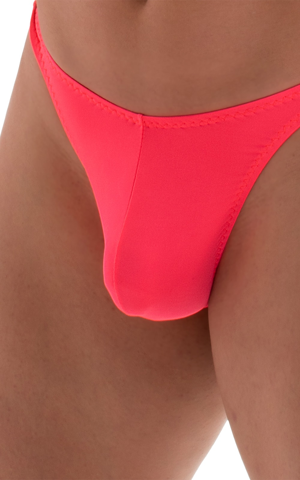 T Back Thong Swimsuit in ThinSkinz Neon Coral 4