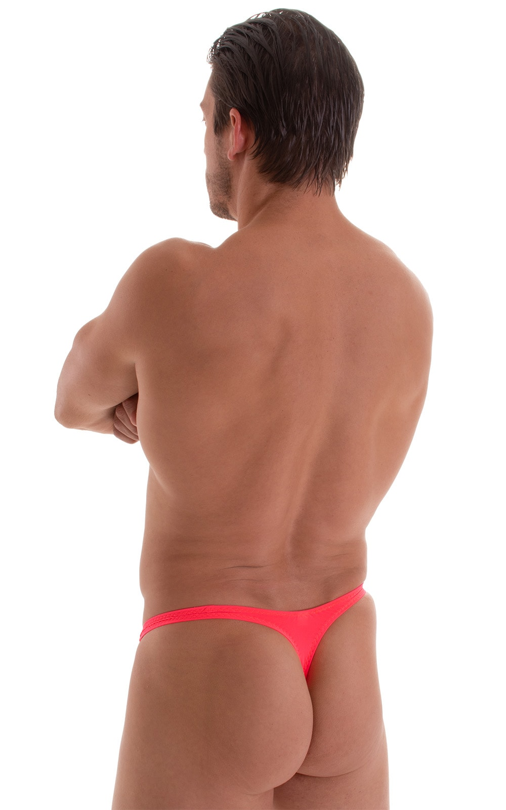 T Back Thong Swimsuit in ThinSkinz Neon Coral 3