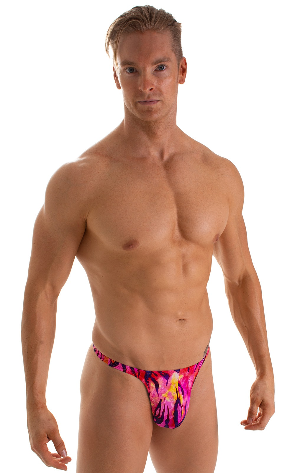 T Back Thong Swimsuit in Beach Tiger Pink 1