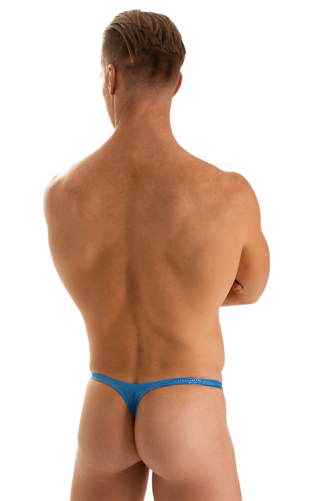 T Back Thong Swimsuit in Ice Karma Electric Blue 2
