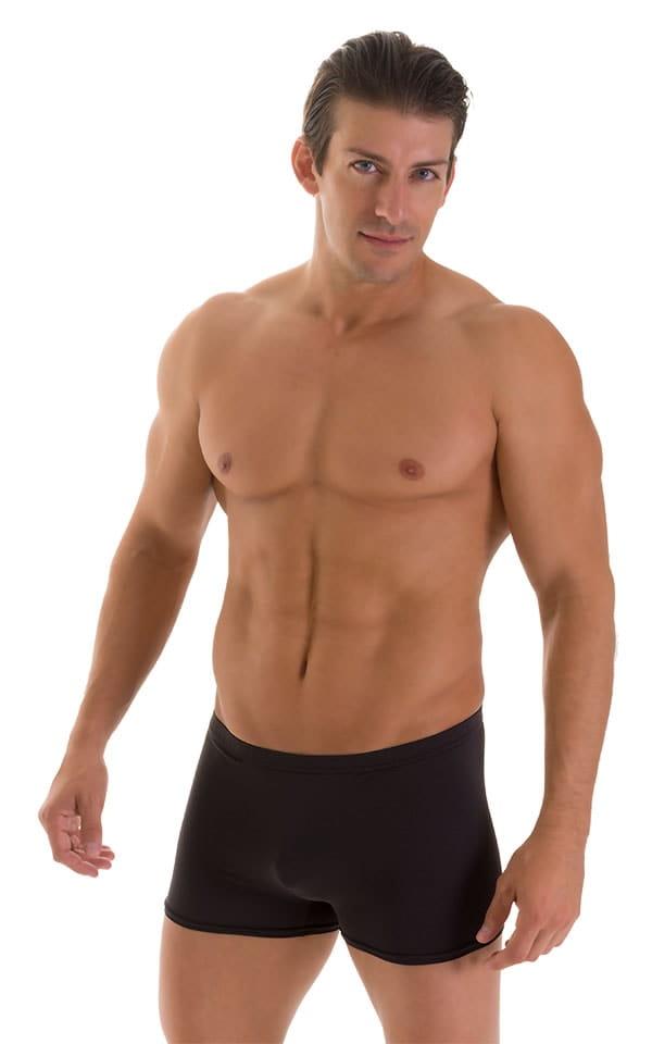 Square Cut Seamless Swim Trunks in Super ThinSKINZ Black 1